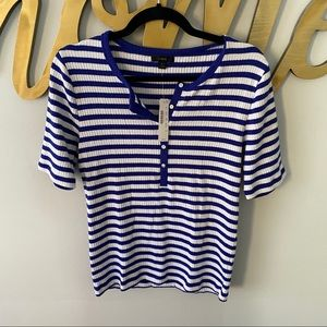 J.CREW Ribbed Elbow Sleeve Henley in Royal Stripe